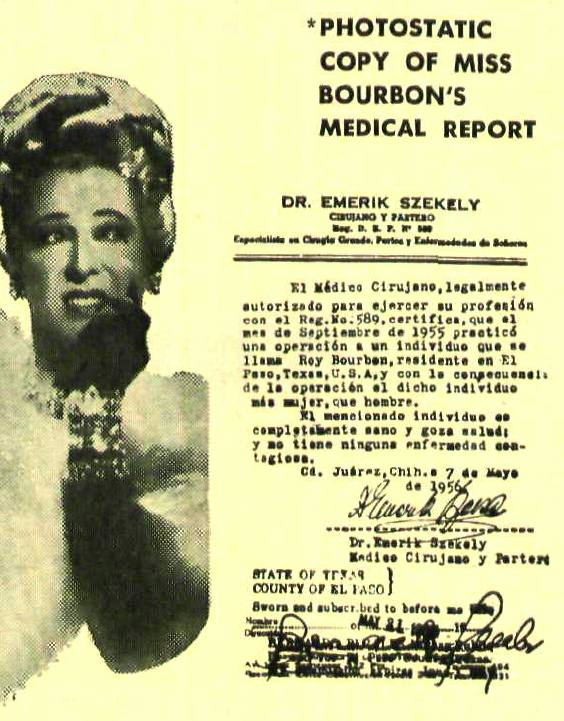Rae Bourbon Medical Report 1956