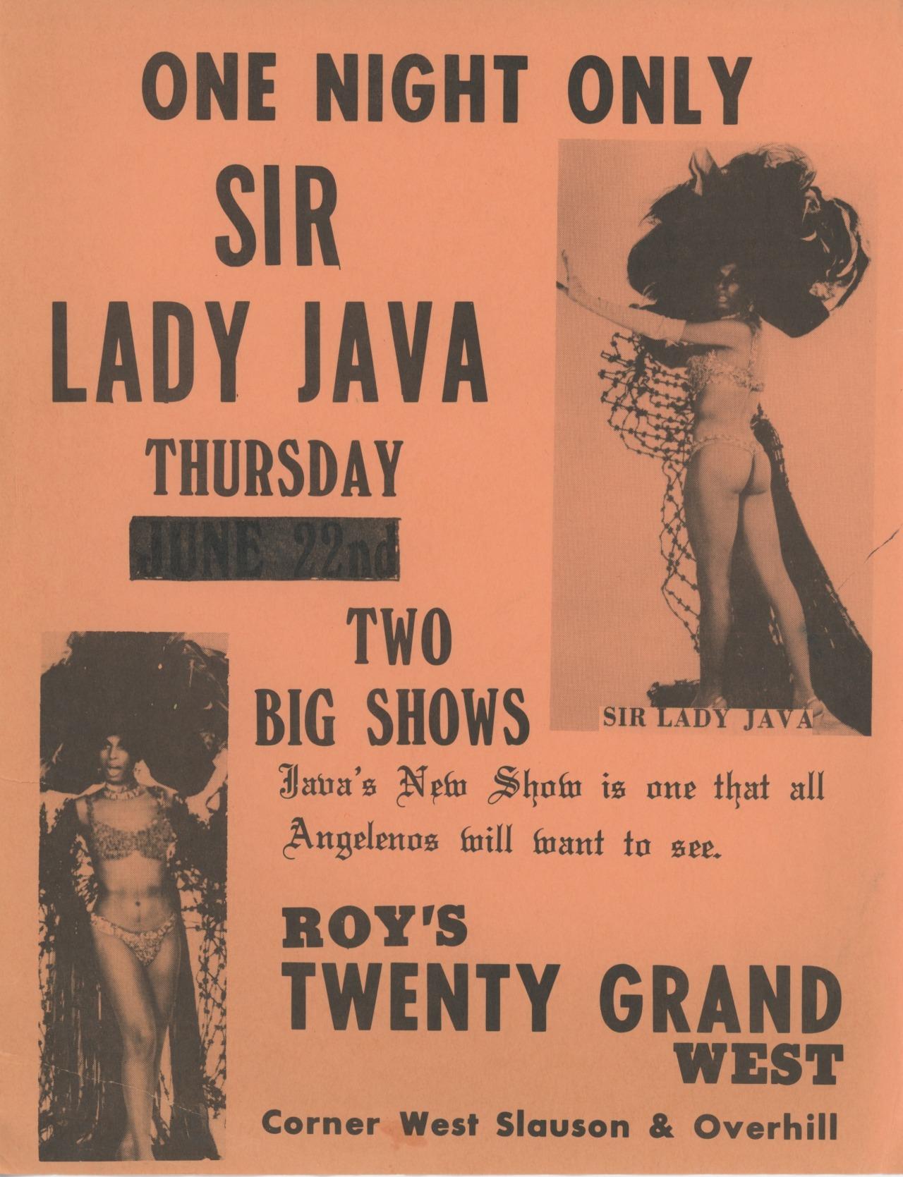 Sir Lady Java at Roy's Twenty Grand West, July 22, 1971