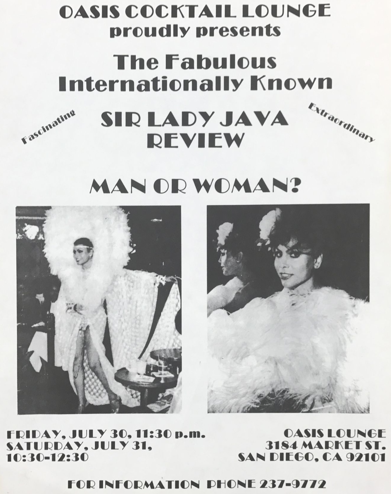 Sir Lady Java at San Diego Oasis Lounge, July 31, 1971