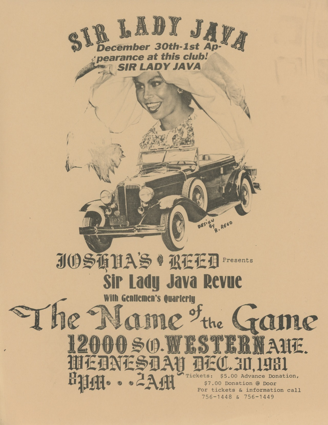 Sir Lady Java at the Name of the Game Club, 1981