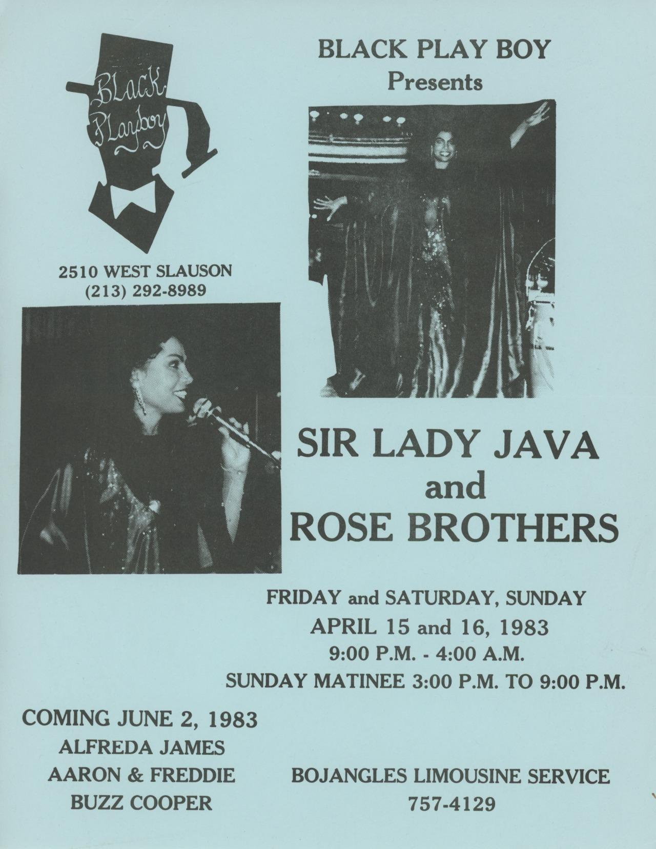 Sir Lady Java at the Black Playboy Club, April 15, 1983.