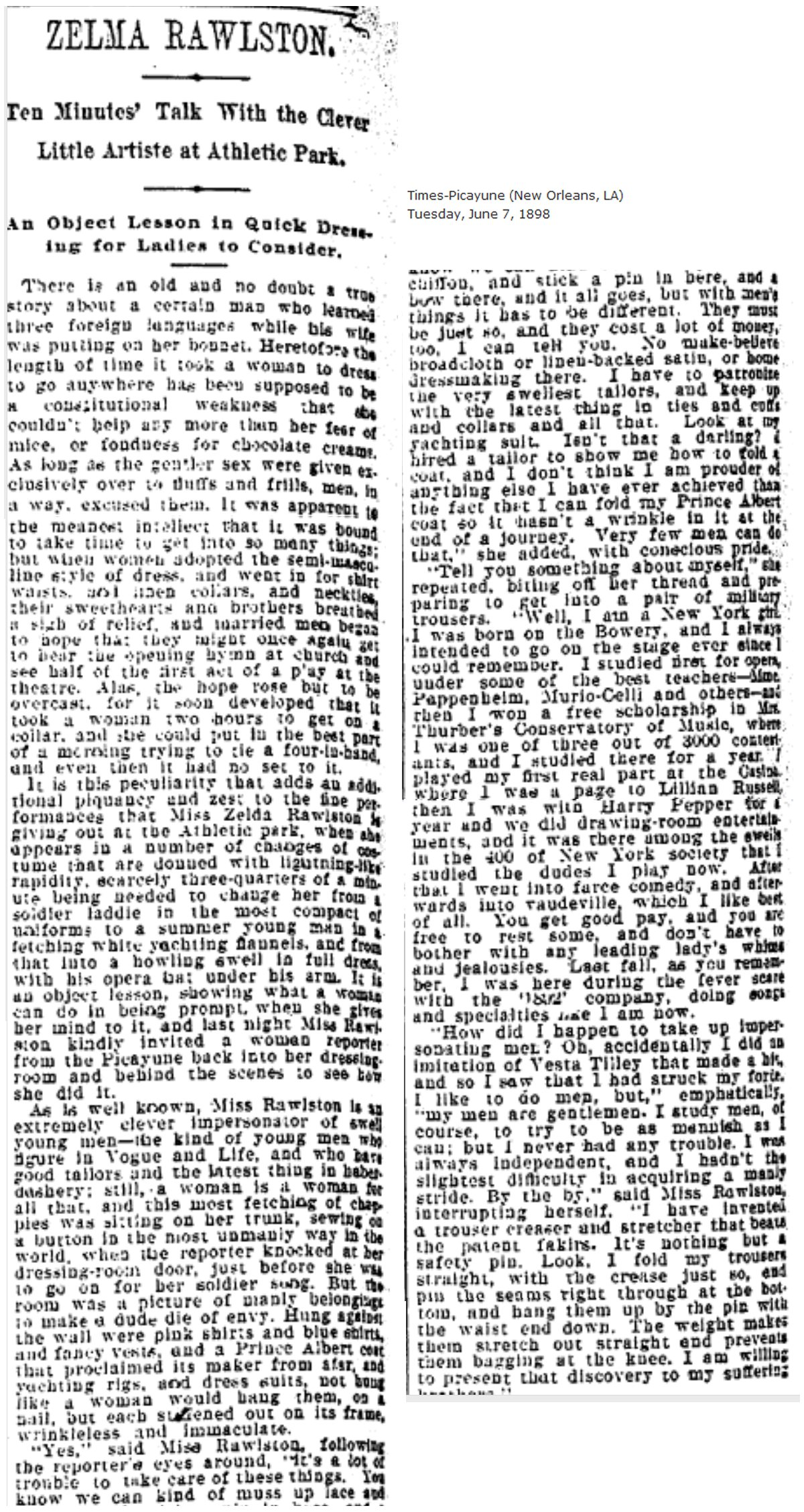 Zelma Rawlston Review, 1898