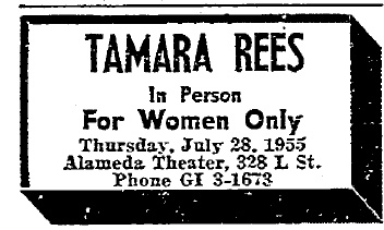 Tamara Rees is listed as appearing at the Alameda Theater