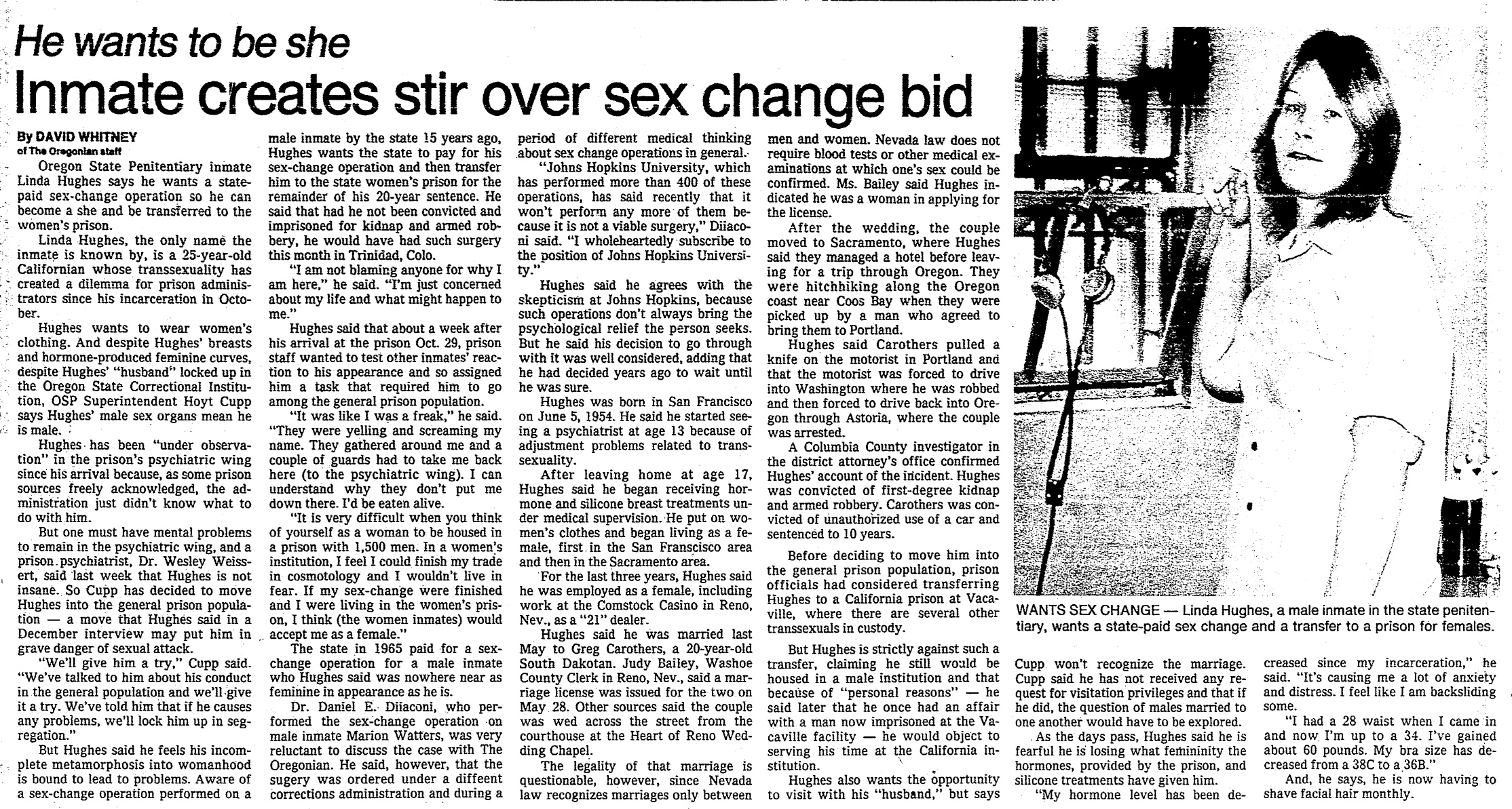 Inmate wants a sex change