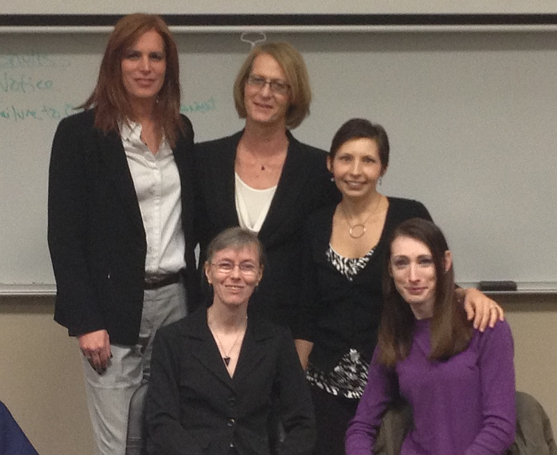 Madeline, Amanda, Fiona, Debi and Rachael at the Lesbian, Gay, Bisexual, Transgender and Questioning (LGBTQ) Seminar at KU